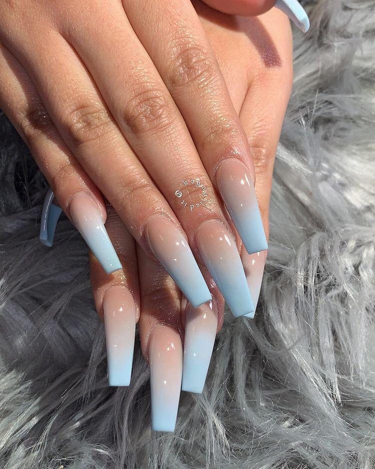 Truubeautys Coffin Nails Long Blue Acrylic Nails Cute