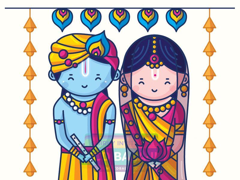 Radha Krishna Wedding Invitation Design. Tamil Brahmin (Iyengar ...