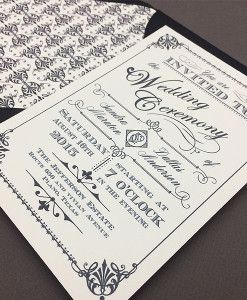 OrnateVintageInvitationTemplateBlackCloseUp  Wedding