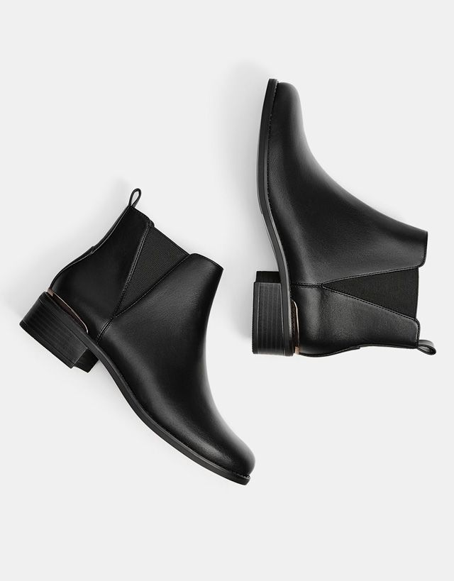 Stretch ankle boots with metallic detail