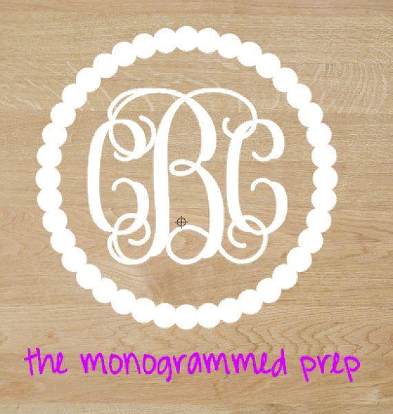 Vine Circle Monogram Car Decal Sticker By TheMonogrammedPrep Car - Circle monogram car decal