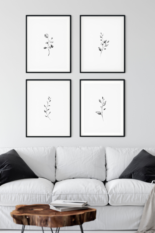 Botanical Print Set Of 4 Minimalist Wall Art Black And White Printable Wall Art Simple Prints Watercolor Leaf Art Black And White Living Room Black And White Picture Wall Living Room Prints