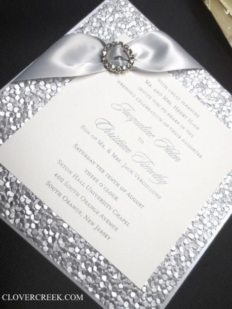 wedding invitation elegant high end embossed silver unique beautiful