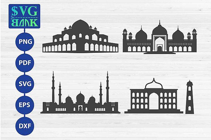 Set Of Mosque Svg Masjid Svg Masjid Silhouette 294000 Svgs Design Bundles Svg Premade Logo Watercolor Masjid