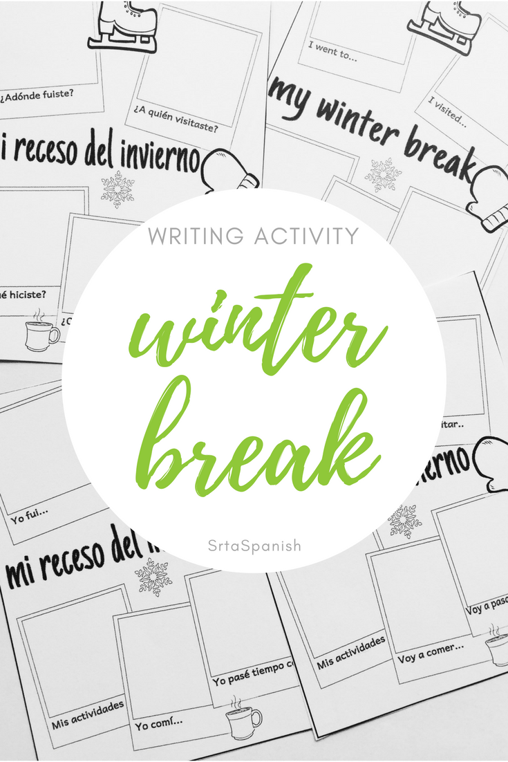My Winter Break Writing Activity in Spanish & English | Winter ...