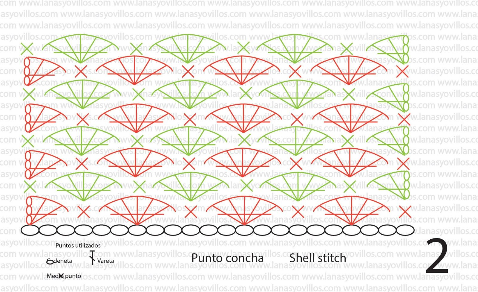 crochet shell stitch diagram   TUTORIAL PUNTO DE CONCHAS CROCHET ...