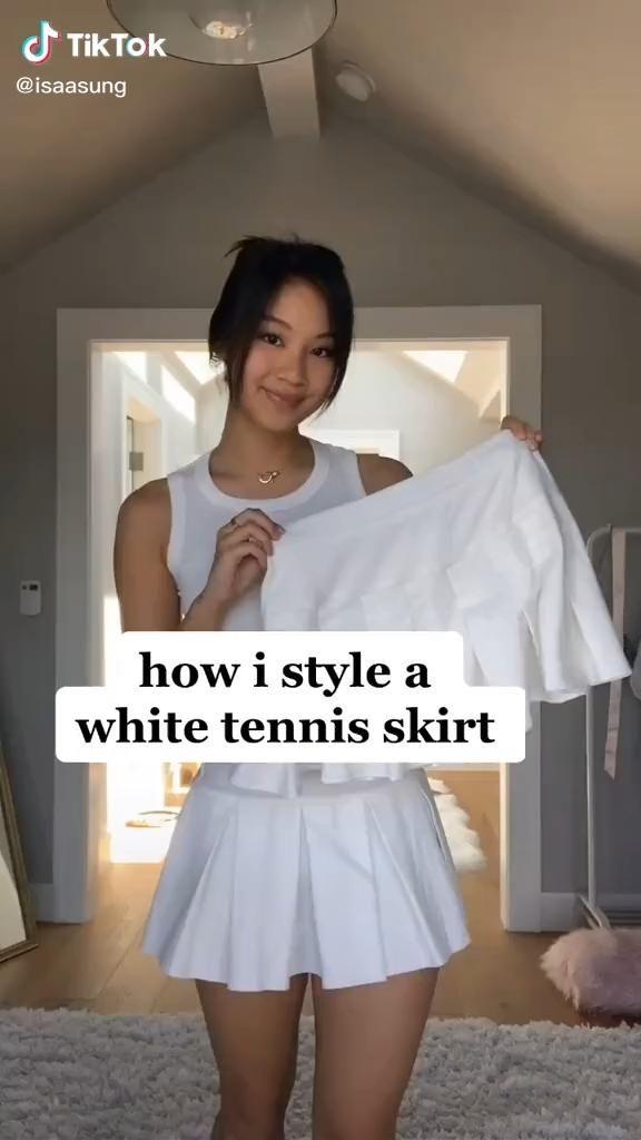 How To Style White Tennis Skirt Fashion Tiktok Video In 2020 Tennis Skirt Outfit White Tennis Skirt Tennis Skirt