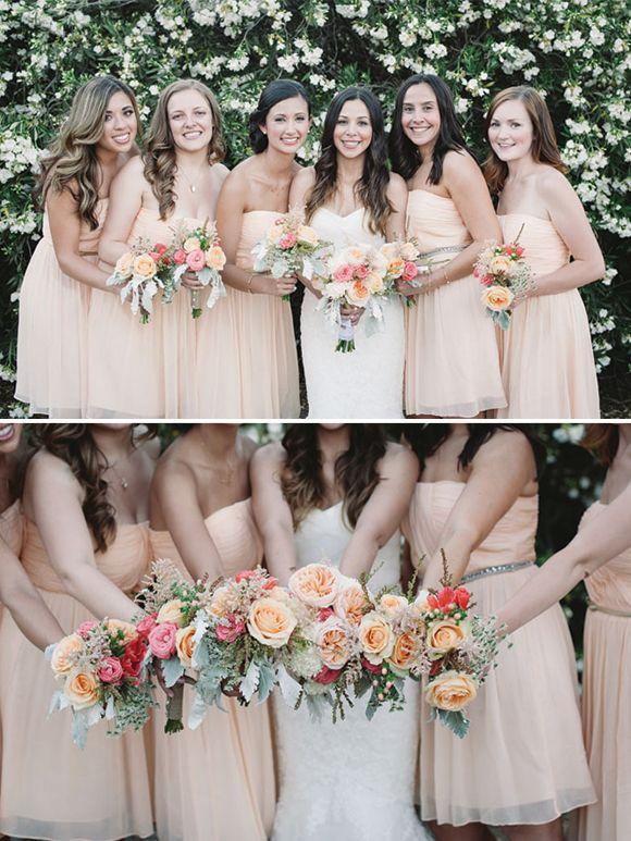 bf7ea18bde1b8 Bridesmaid Dresses and Flower Arrangements   Blush + Pale Pink ...