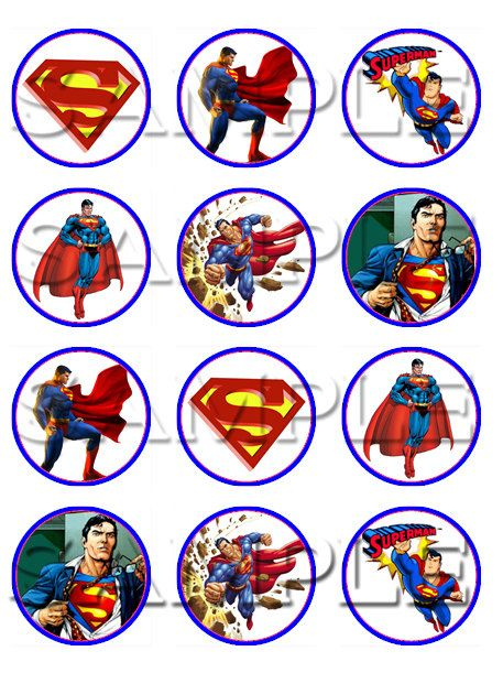 Superman Edible Cupcake Toppers by ItsEdible on Etsy