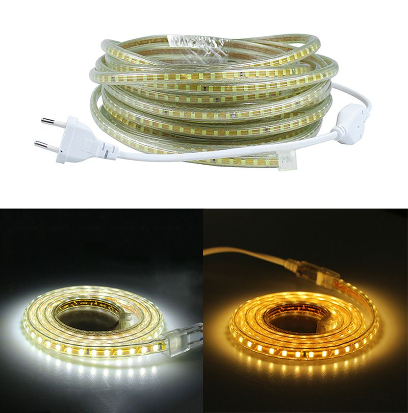 220v Smd 2835 Flexible Led Strip Light 1m 2m 3m 4m 5m 6m 7m 8m 9m 10m 15m 20m Power Plug 120leds M Ip65 Waterproof Led Ribbon Led Band Led Streifen Led