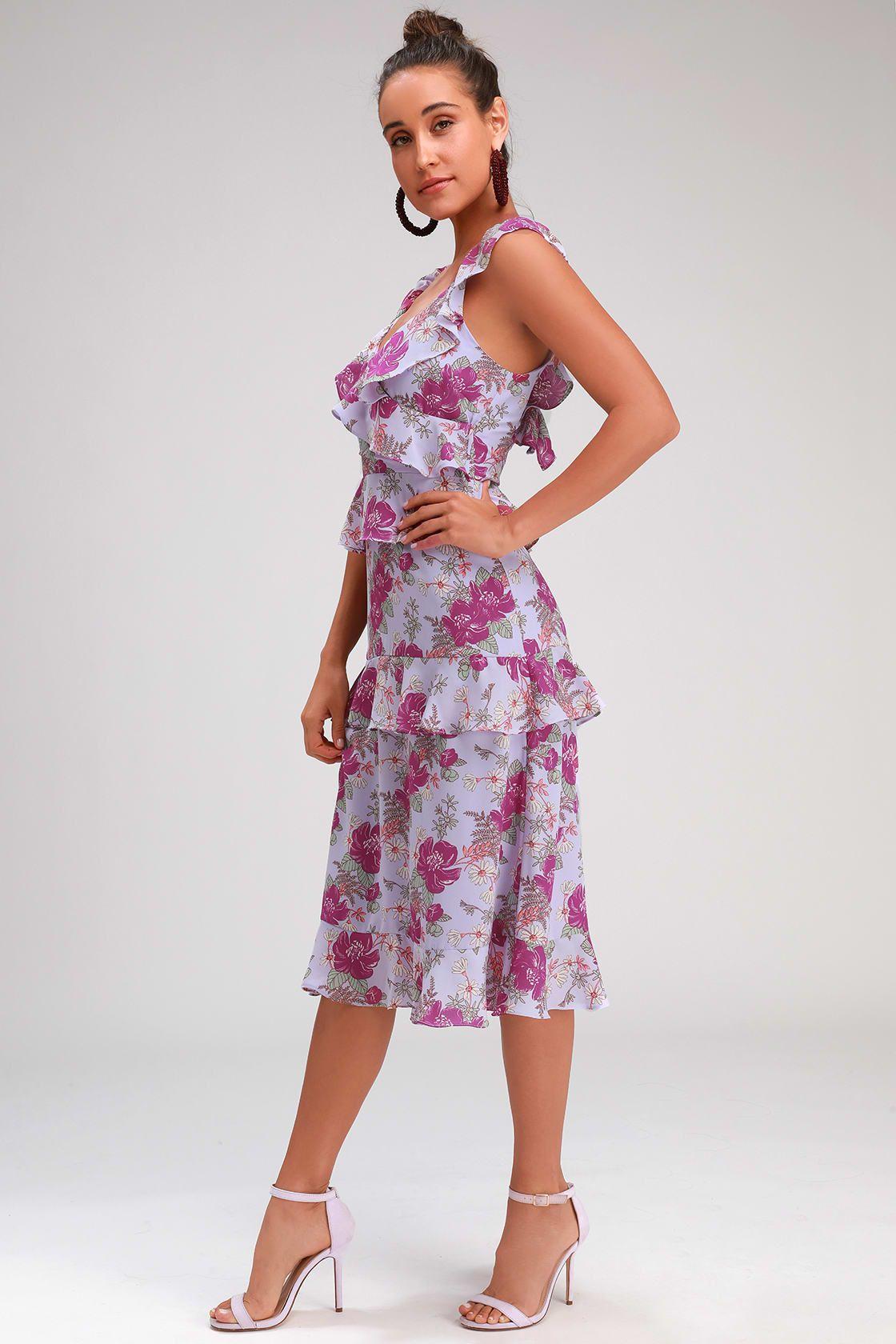 fba8b9a74d1e Lulus | Fleur-Evermore Lavender Floral Print Ruffled Midi Dress ...