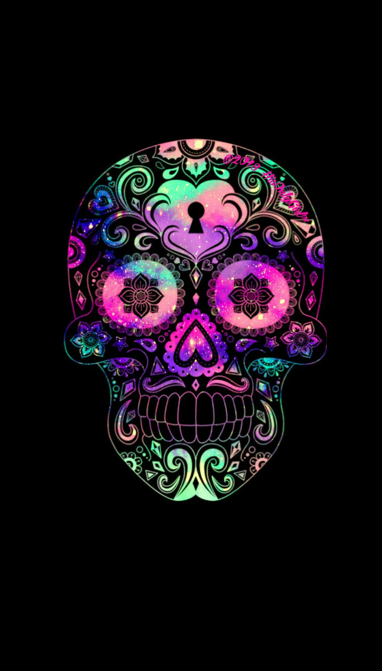 Colorful Candy Skull Iphone Android Galaxy Wallpaper I Created By Hisonlygirl Sugar Skull Wallpaper Skull Wallpaper Skull Art