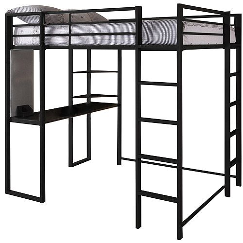 Dhp Abode Full Metal Loft Bed Over Workstation Desk Black