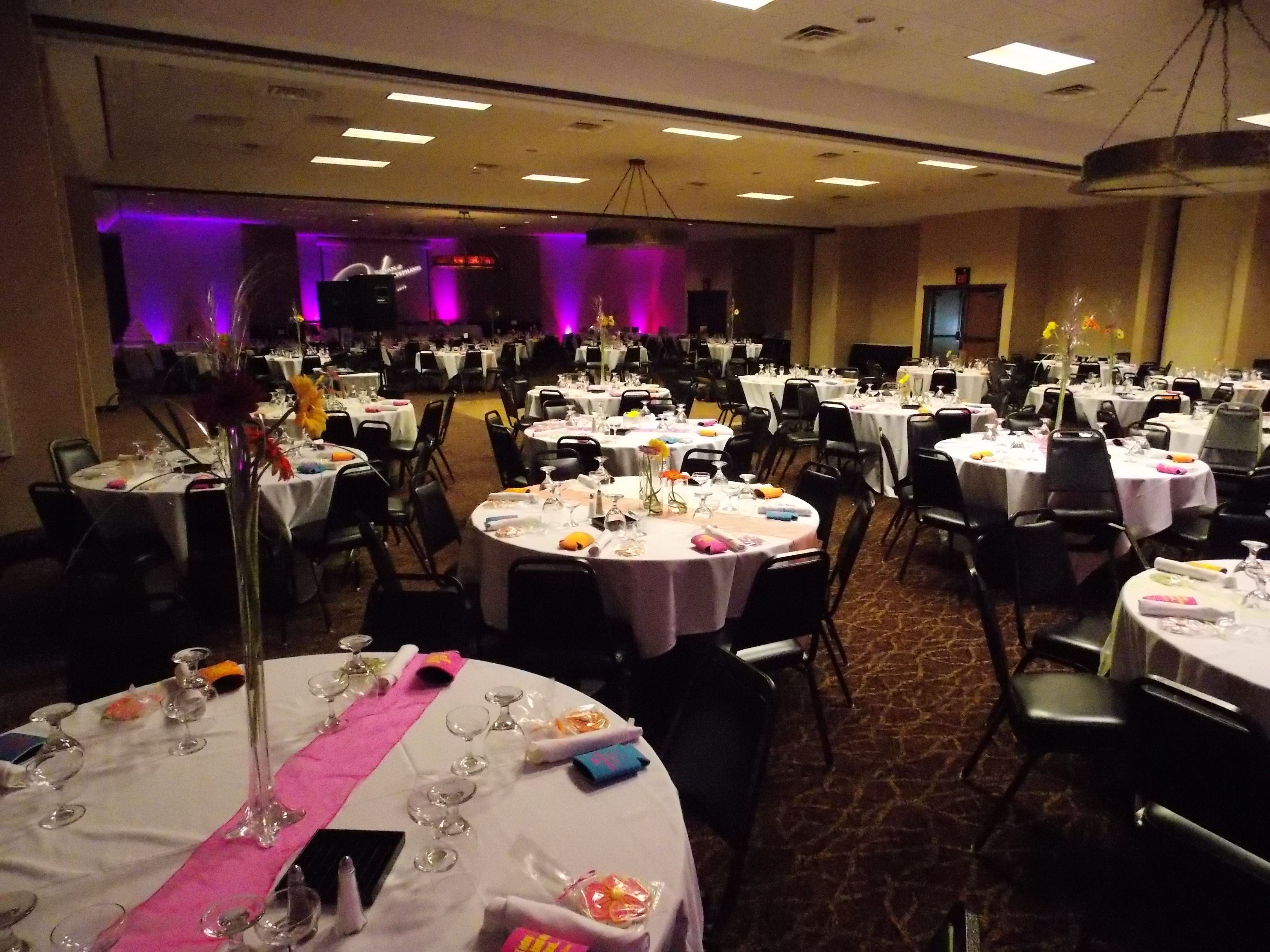 A View Of The Banquet Room At Stoney Creek Inn Moline Illinois Up Lighting By Marske Music Productions Www Marskemusic Com Moline Banquet Hall Room Decor