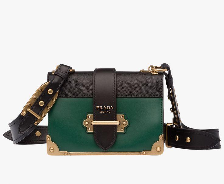 Prada Woman - Prada cahier bag - Billiard green + black -  1BD045 2BB0 F0KBH V OCH 1e14dee2e95e6