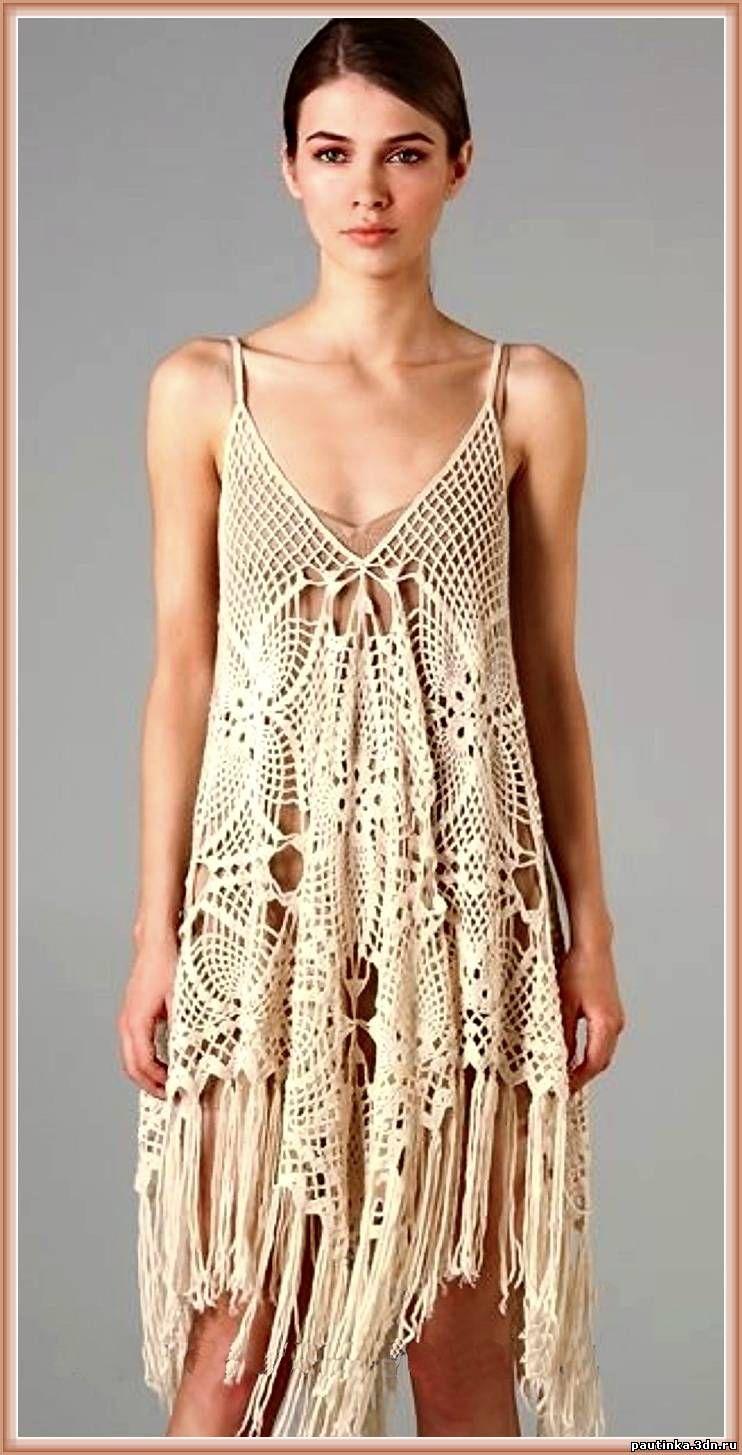 Платье связанное мотивами крючком схемы