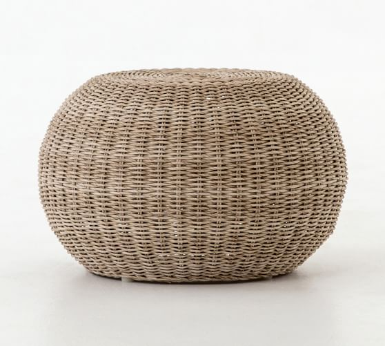 Annette Rattan Accent Stool Tufted Leather Ottoman