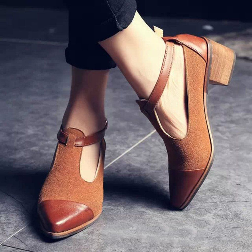 597a58ef6aa10 Women's Vintage Pointed Toe Color Block Ankle Strap Shoes | shoes in ...