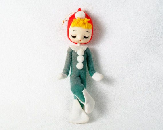 SOLD $10 Vintage Holiday Pixie n Green Suit with Red Hat by PattyMora