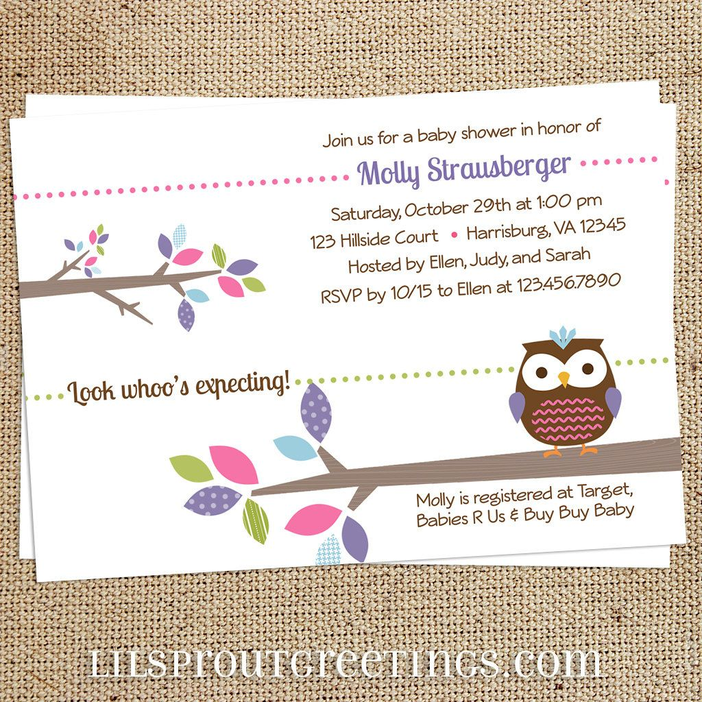 Treetop Friends Baby Shower Invitation Girl By Lilsproutgreetings