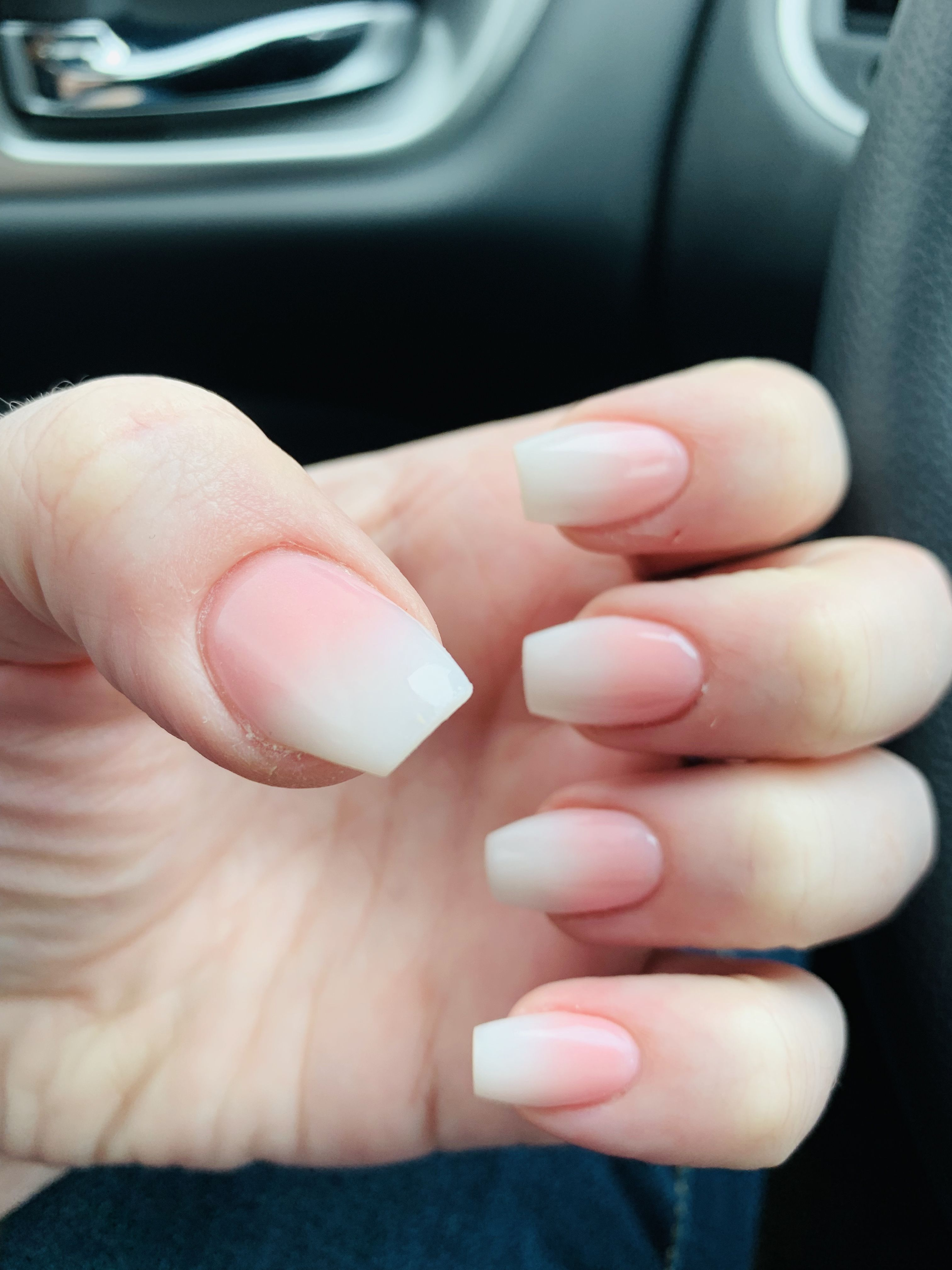 Short Coffin Soft White And Pink Ombre Coffin Nails Ombre Short Coffin Nails Coffin Shape Nails
