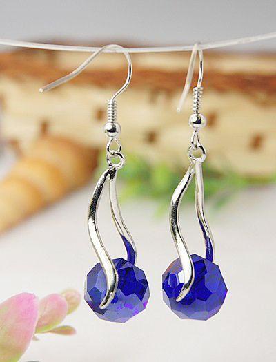 Elegant Glass Earrings, with Brass Pinch Bails and Brass Earring Hooks, Blue