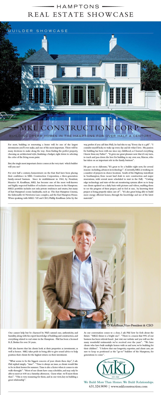 Hamptons Real Estate Showcase: MKL Construction - Hamptons Real Estate SHowcase - Hamptons Builders