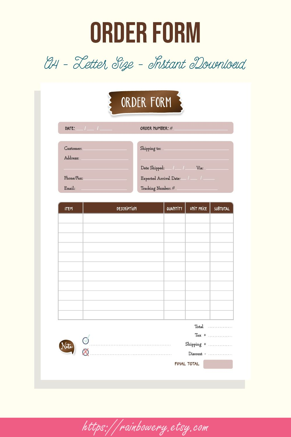 order form template printable  small business order form