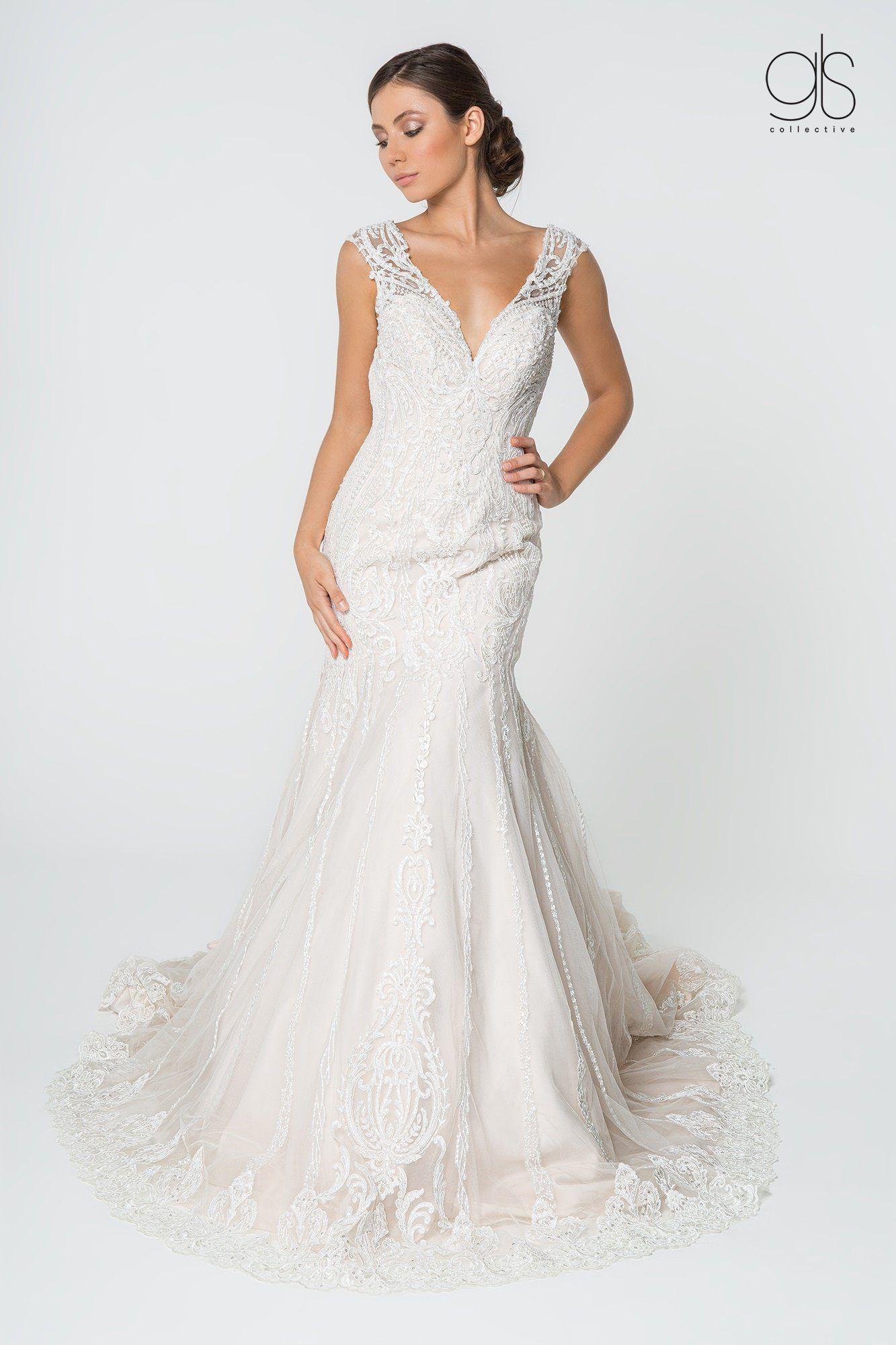 Lace Embellished Deep V Neck Wedding Gown by Elizabeth K GL20 ...