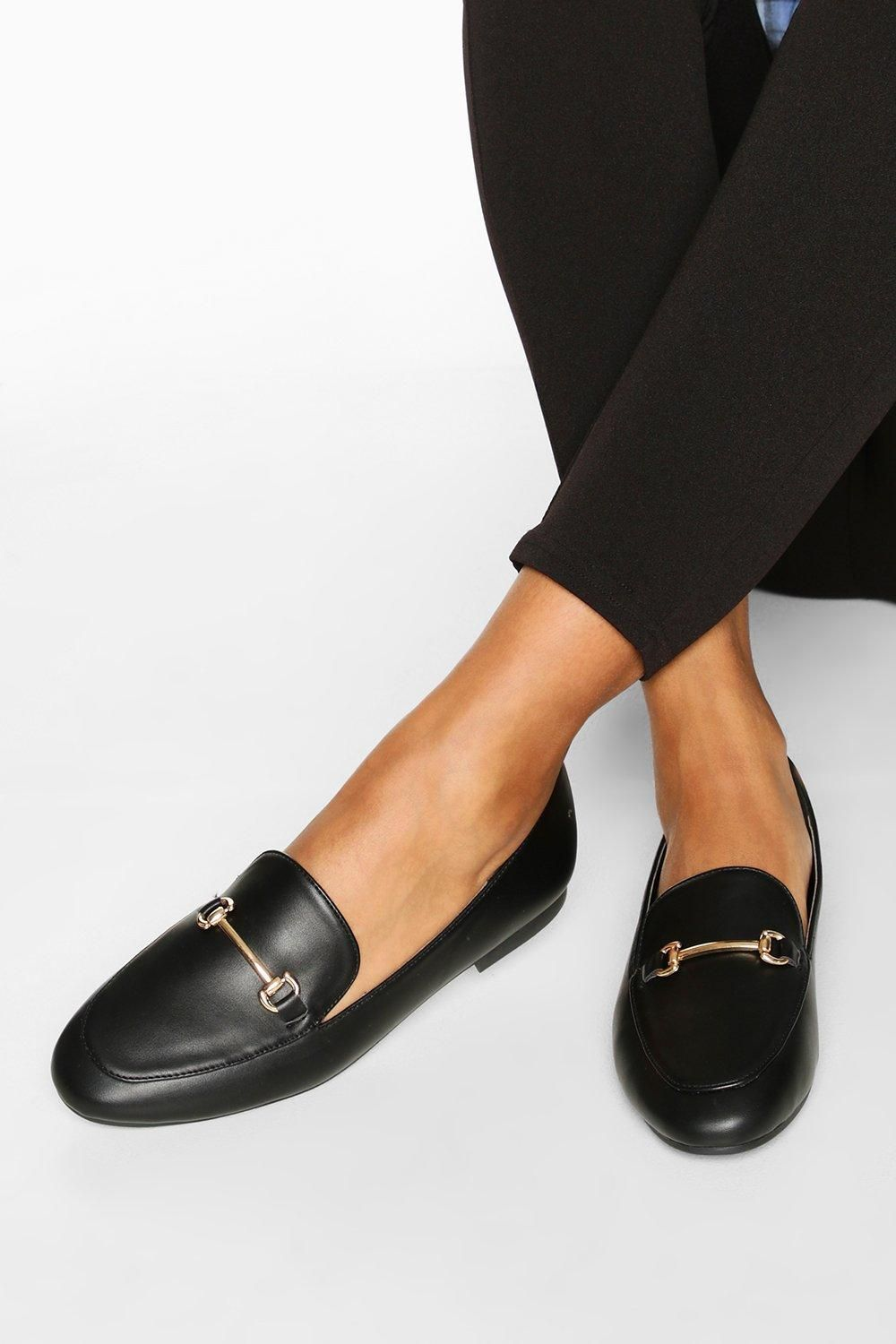 T Bar Basic Loafers Boohoo In 2021 Work Shoes Women Black Loafers Women Loafers Black [ 1500 x 1000 Pixel ]