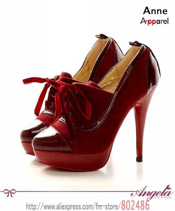 Womens Blood Red Oxford Pumps..