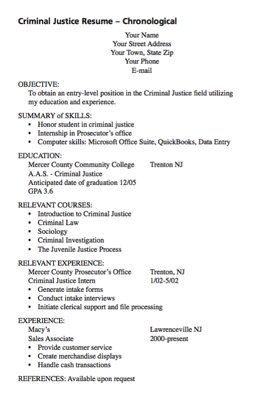 Example Of Criminal Justice Examples Resume Cv