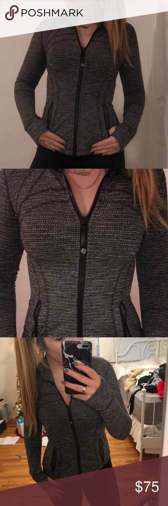 8ec0b0bd18d5a Lululemon Define Jacket Worn one or two times, Color: Luon Variegated Knit  Black Heathered Black, Great Condition! lululemon athletica Jackets & Coats