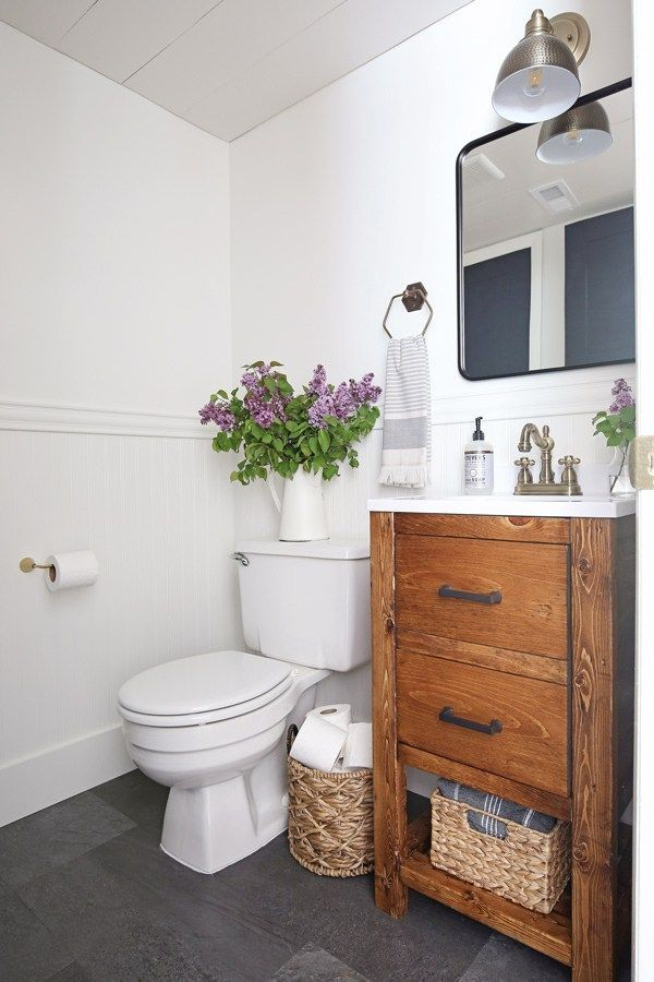 modern bathroom makeovers on a budget | Small Bathroom Makeover on a Budget | Small half bathrooms ...