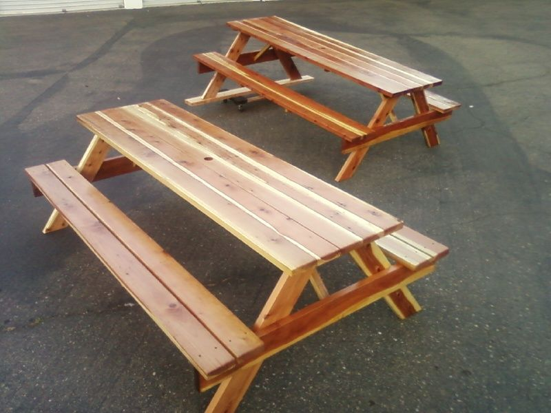 Two 8ft Standard Redwood Picnic Tables With Benches Attached. One Has Water  Sealant And One