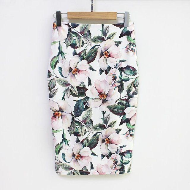Club floral pencil skirt high waist vintage bodycon mini skirt women black skirt #mittellangeröcke