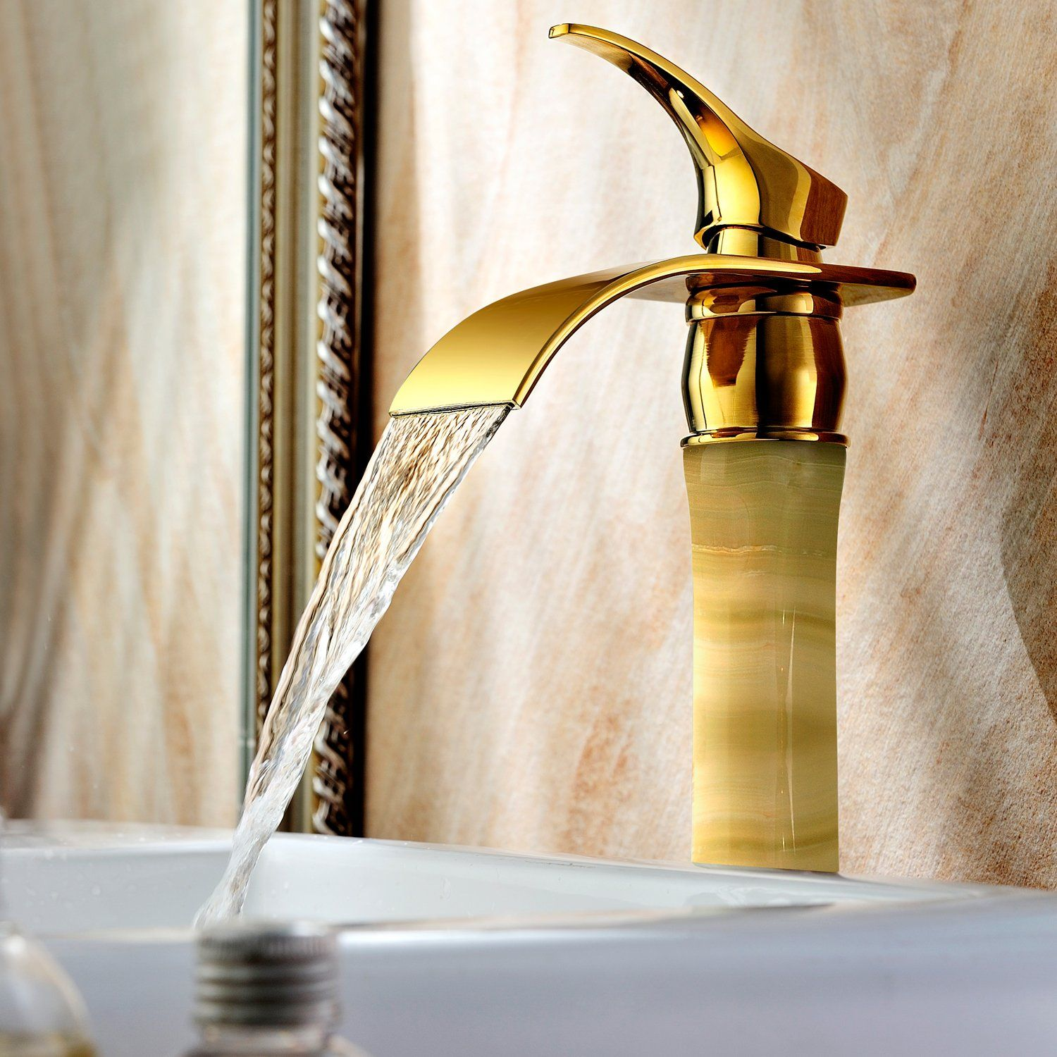 OASD Deck Mount Bathroom Faucet Full Copper Waterfall Washbasin ...
