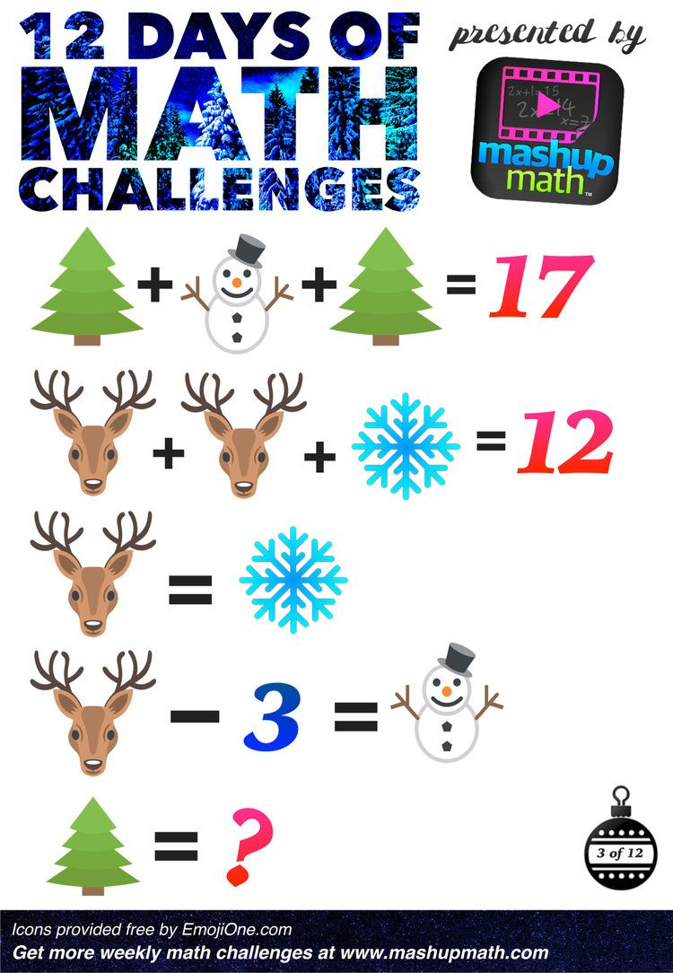 Are You Ready for 12 Days of Holiday Math Challenges? | Mathe und ...