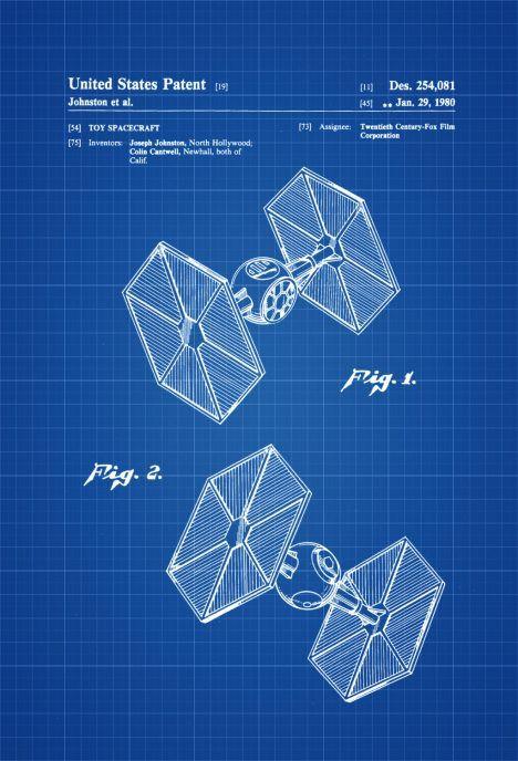 Star Wars TIE Fighter Patent u2013 Patent Print, Wall Decor, Star Wars - new blueprint book for welders