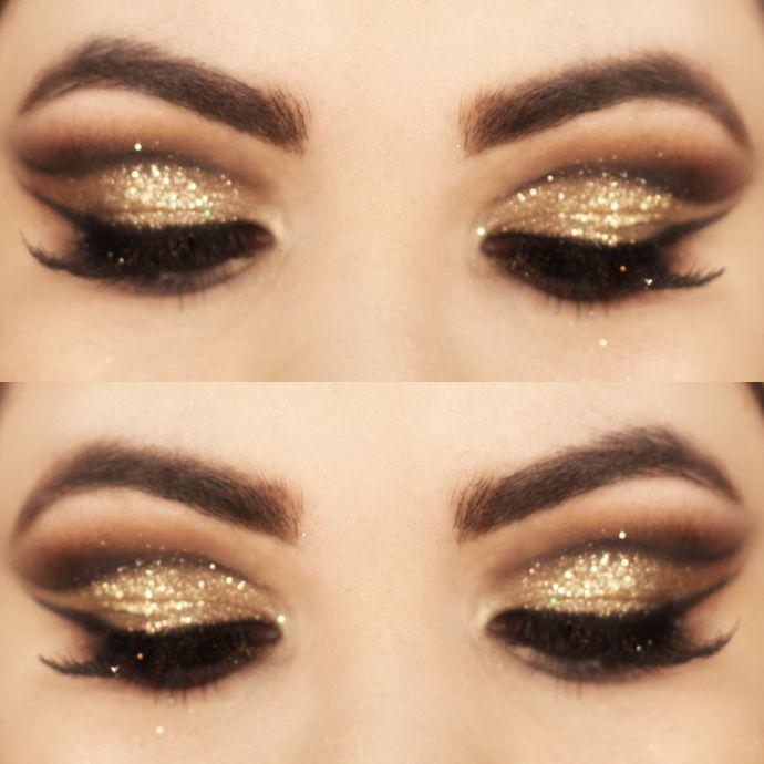 Tutorial - maquiagem dourada com batom vermelho » Pausa para Feminices