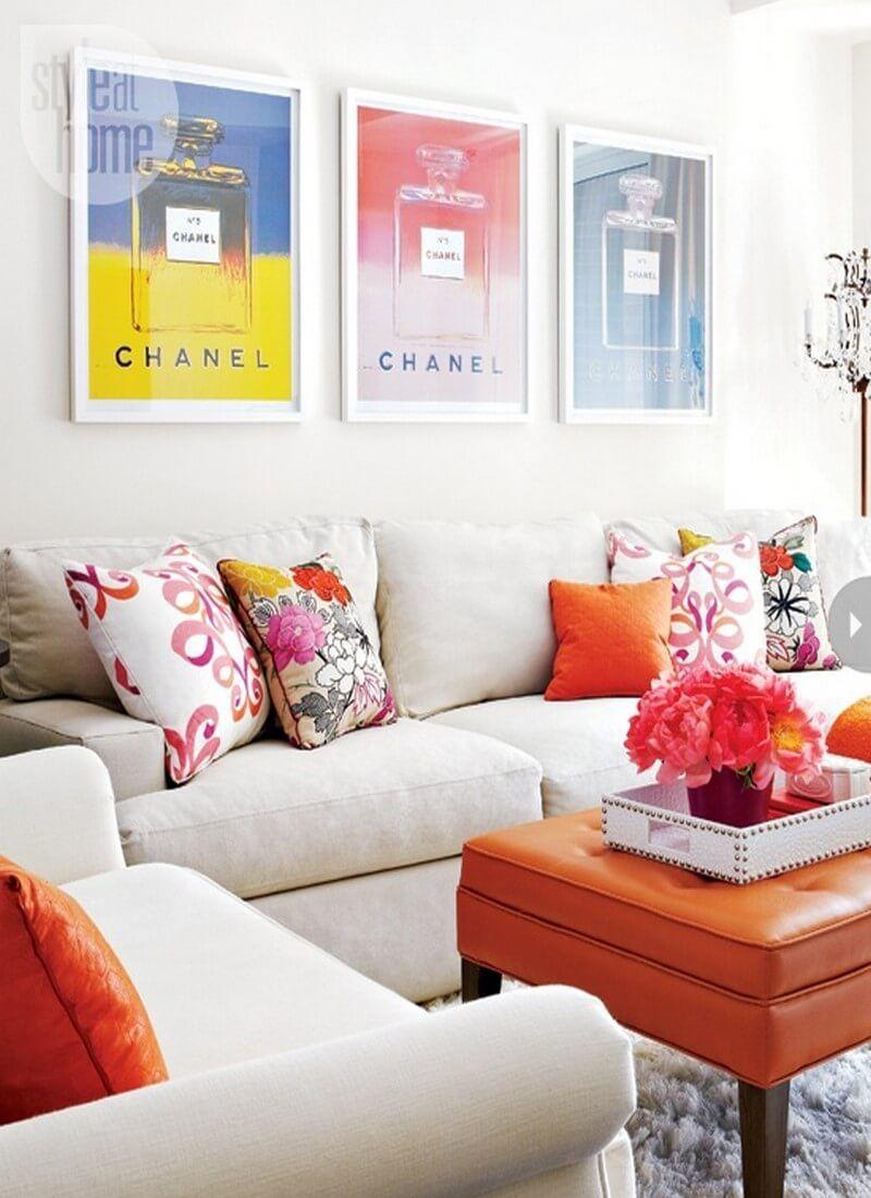 50 Elegant Feminine Living Room Design Ideas | Chanel print ...