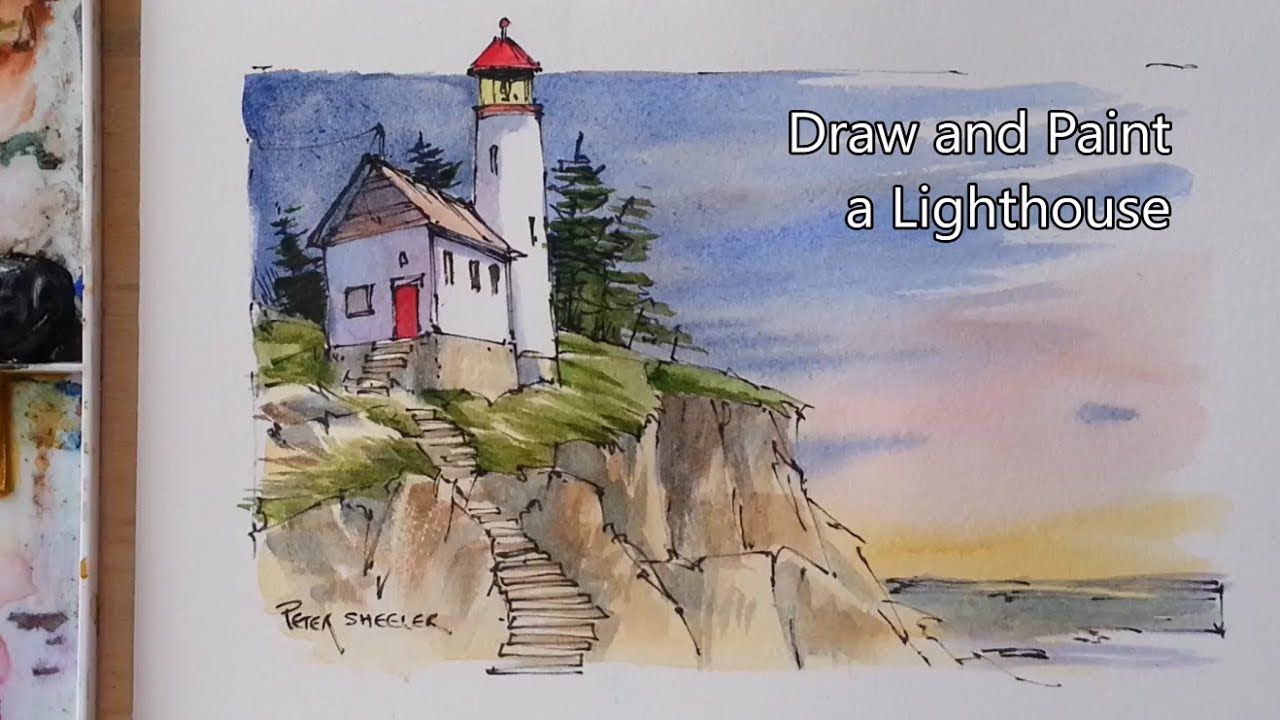 How To Draw And Paint A Lighthouse Line And Wash Watercolor
