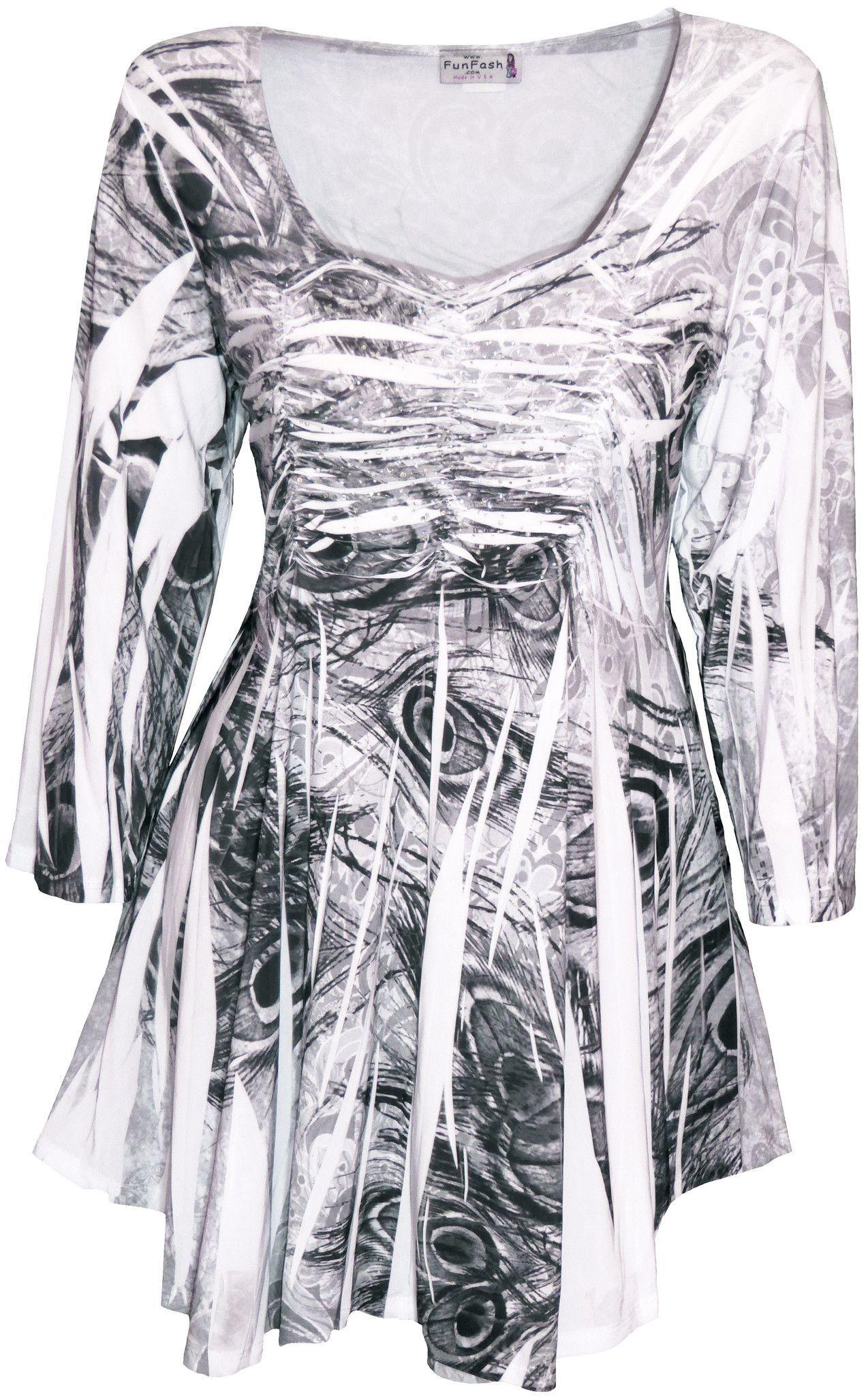 dc0c3b9c283d0 Funfash Plus Size Top Rhinestones Empire Waist Peacock New Women s Shirt  Blouse