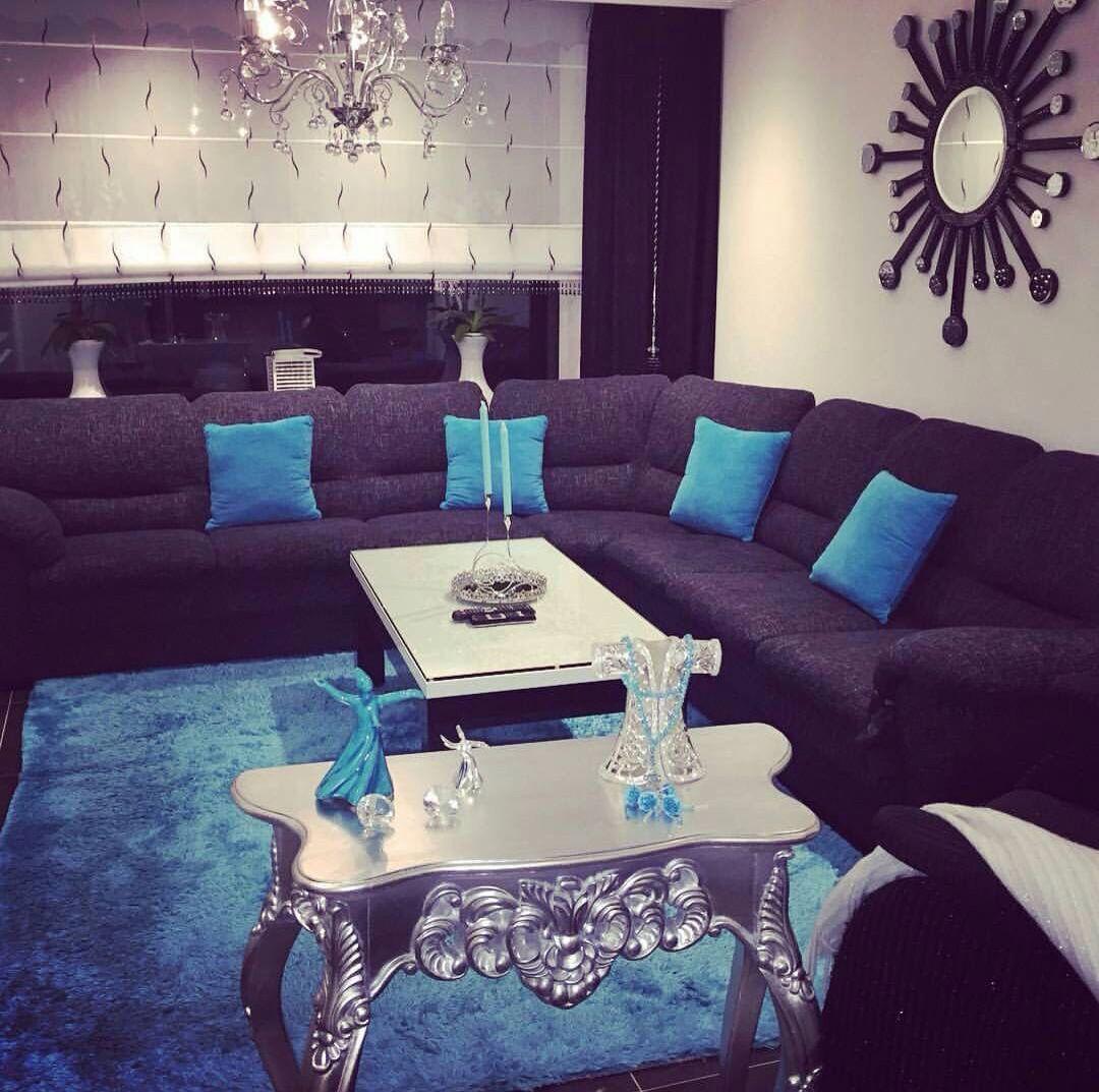 Azul Turquesa Y Gris Combinacion Perfecta Para Una Sala