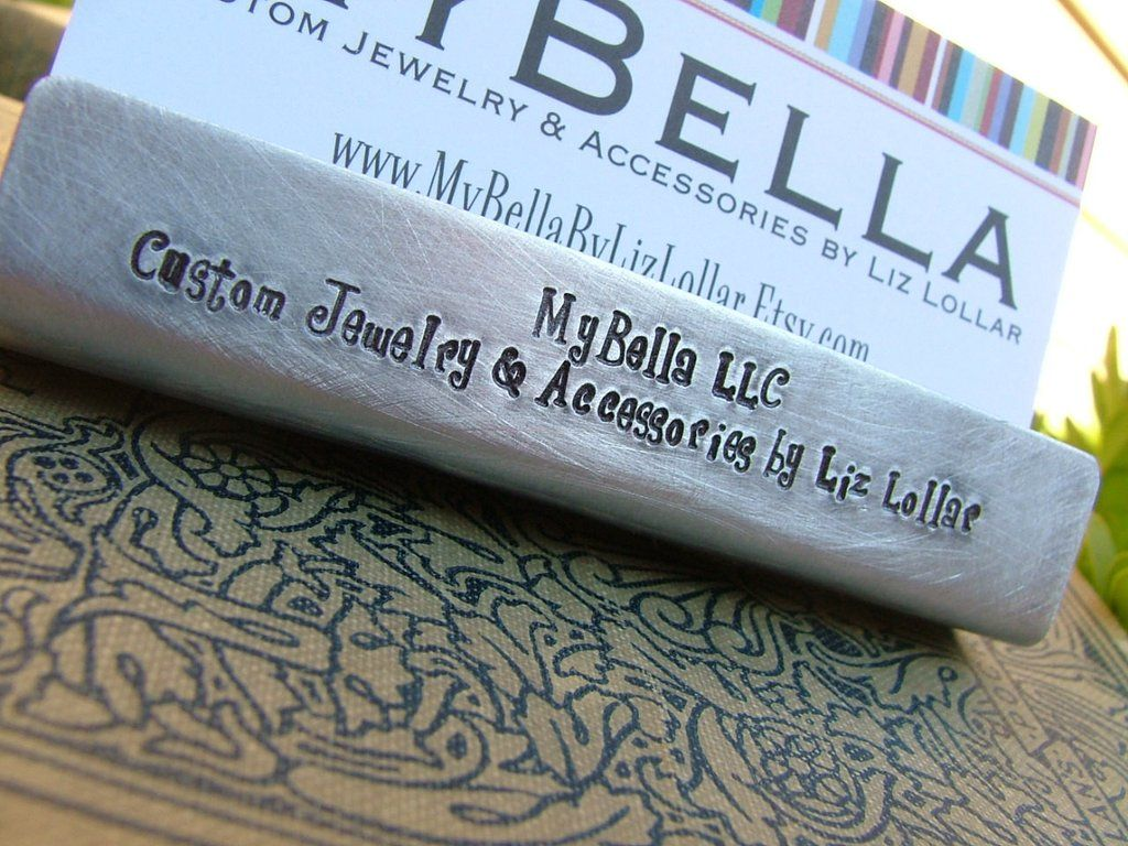 Custom hand stamped aluminum business card holder by mybella custom hand stamped aluminum business card holder by mybella magicingreecefo Choice Image