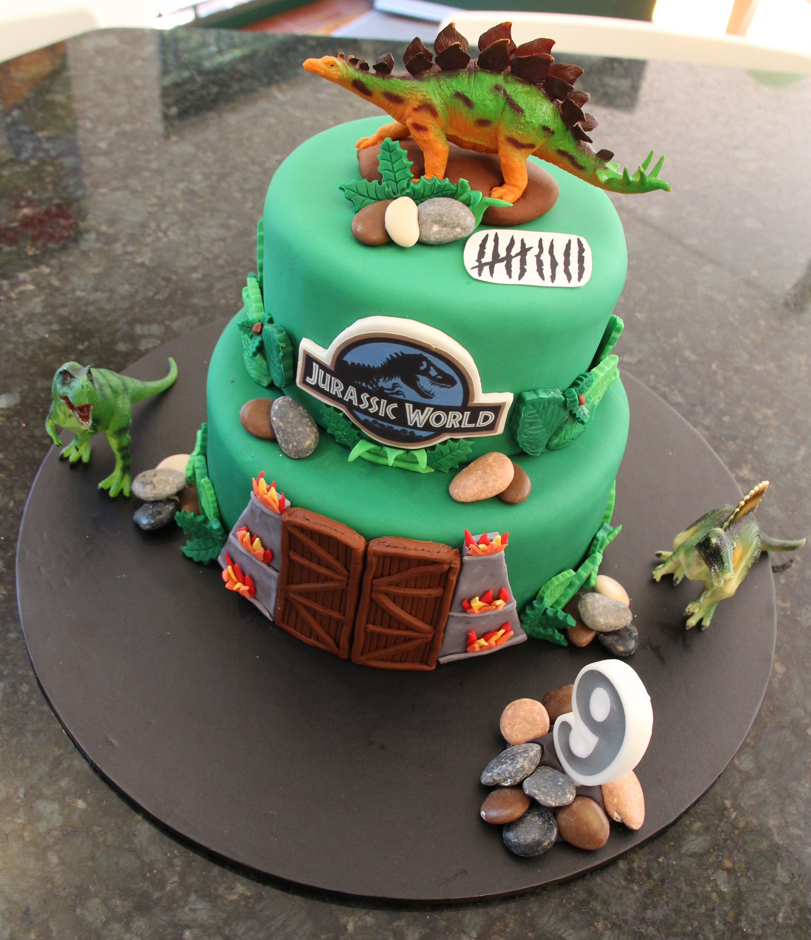 Jurassic world cake archies 9th birthday logo made