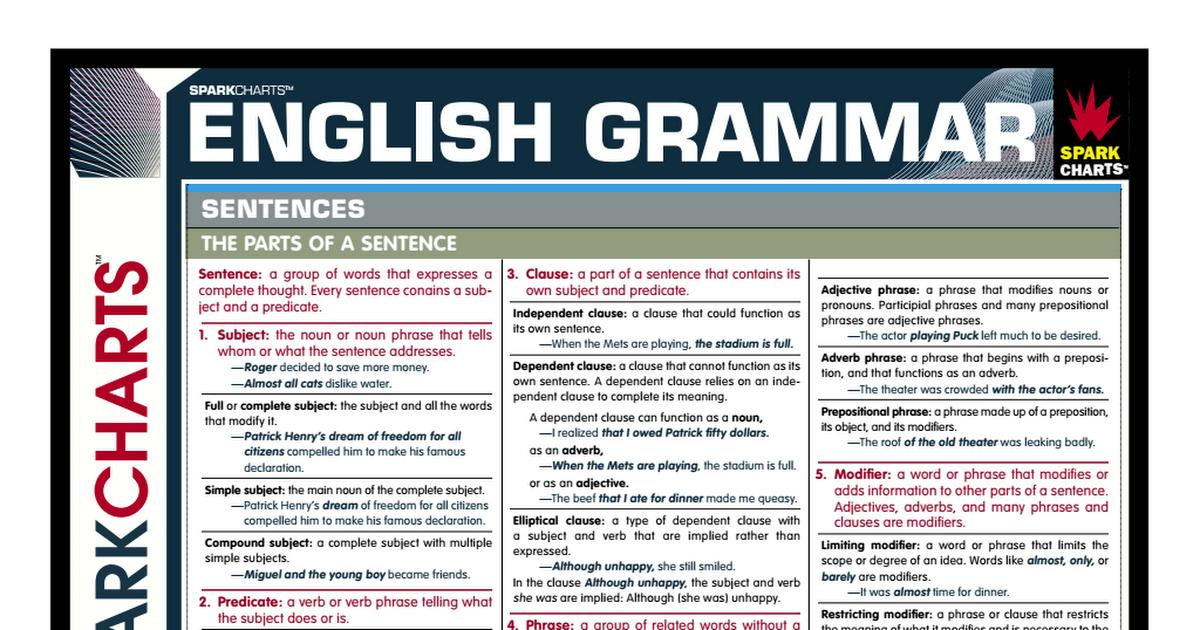 English grammar spark charts pdf also ingles pinterest rh