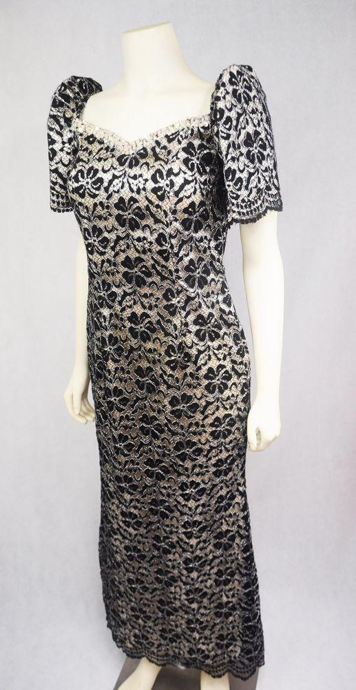 Rtw Filipiniana Filipino Lace Black Terno Medium Dress