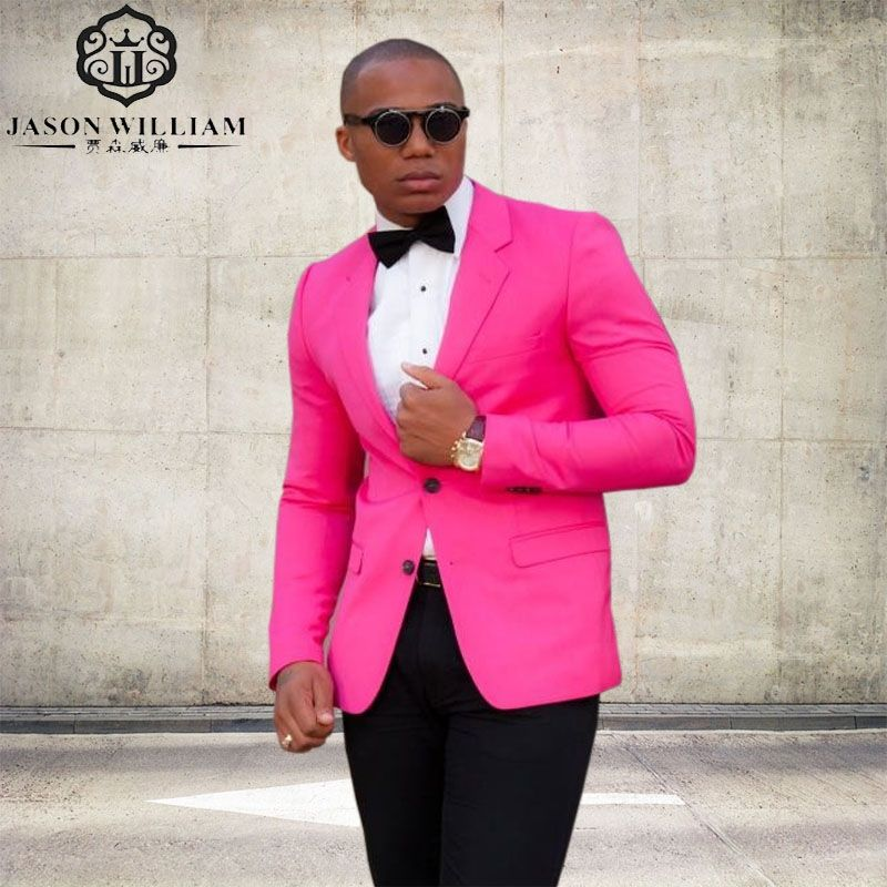 LN132 Two Buttons Slim Fit Groom Tuxedo Hot Pink Mens Suit Best Men ...