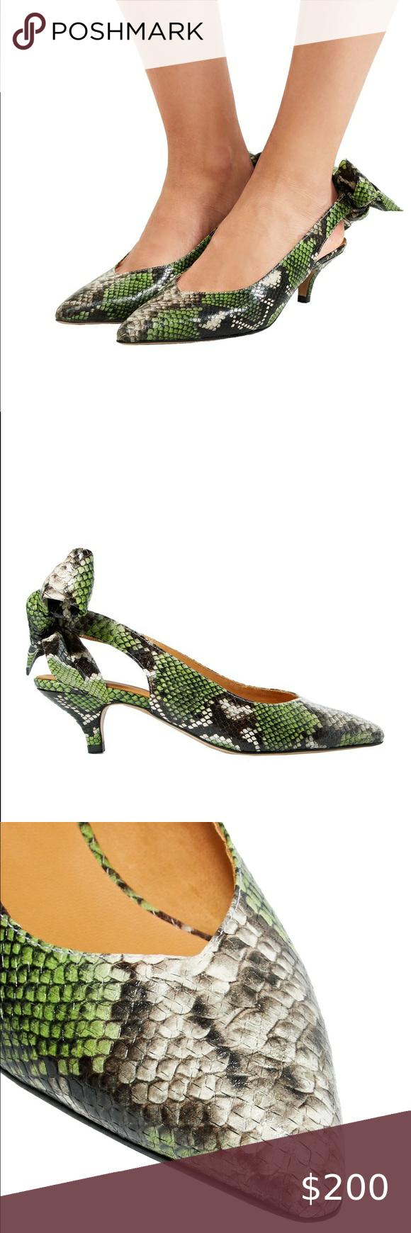 Ganni Green Sabine Snake Leather Sling Back Pump 7 In 2020 Snake Leather Shoes Women Heels Printed Leather